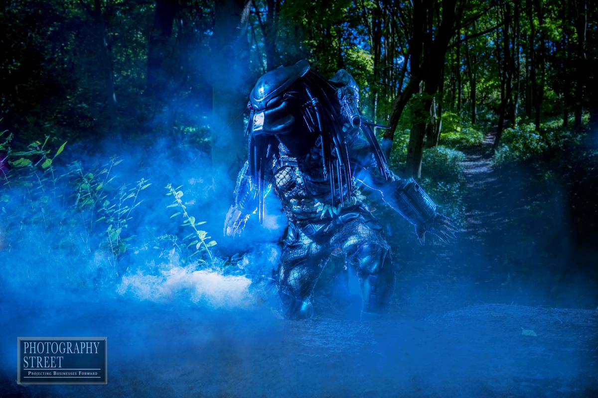 Predator in blue smoke
